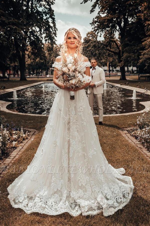 Off Shoulder 3D Flroal Lace Appliques Wedding Dress