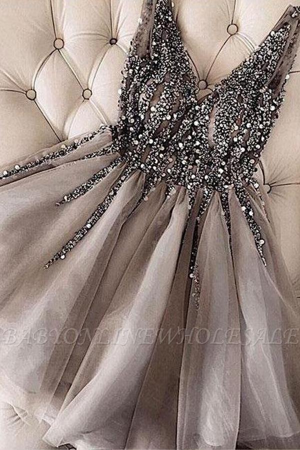 Stylish Sleeveless Sequins Beaded Short Homecoming Dress SilverTulle Cocktail Dress