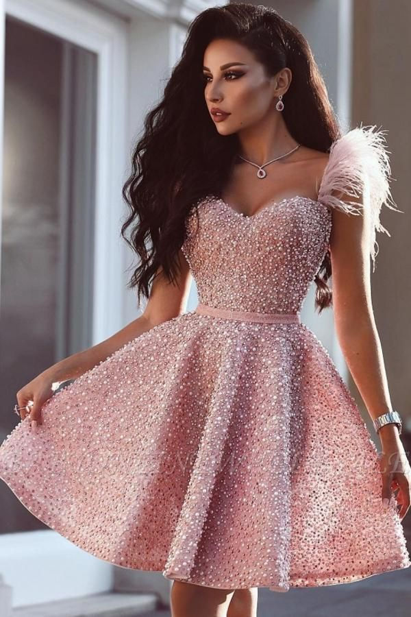 Classic Beading Homecoming Dress Luxury Feather Pink Party Dress