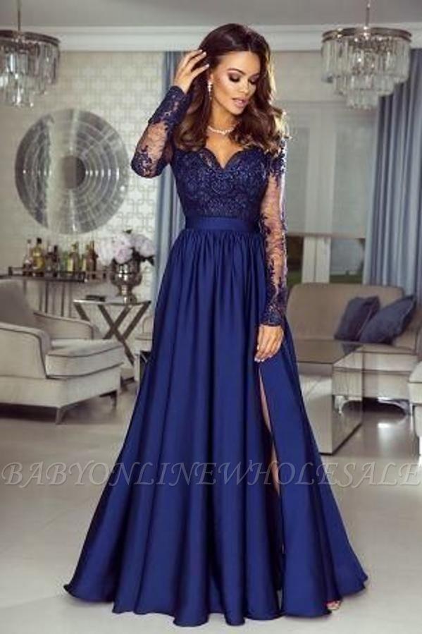 Vestido longo elegante azul marinho de renda de cetim noite vestido formal de mangas compridas com divisão lateral