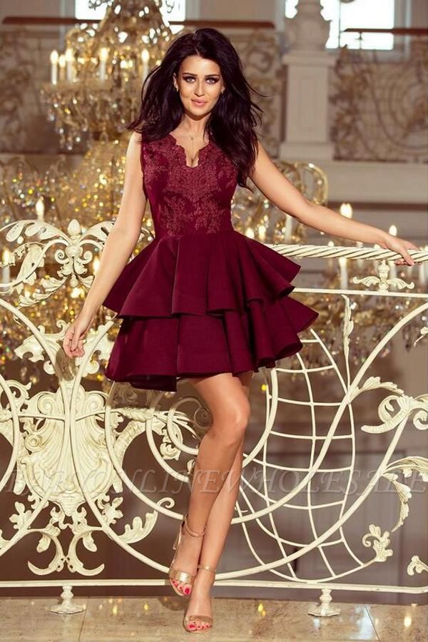 Cute Sleeveless Velvet Short Homecoming Dress Floral Two Layers Cocktail Dress