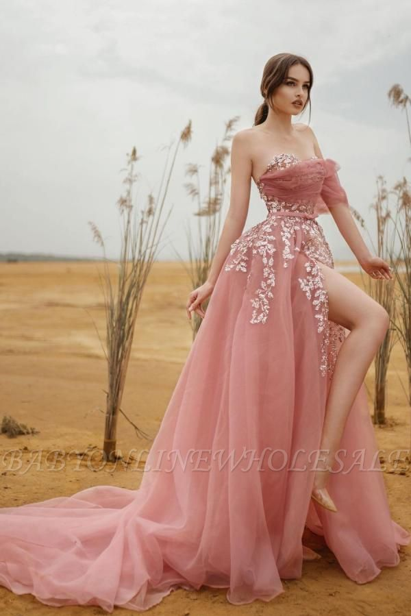 Dusty Pink Strapless Tulle Evening Dress Floor Length Side Slit with White Lace Appliques
