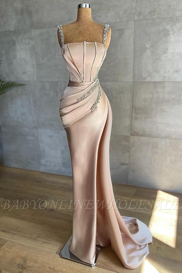 Sexy Satin-Seide-Meerjungfrau-Abschlussballkleid mit tiefem Seitenschlitz