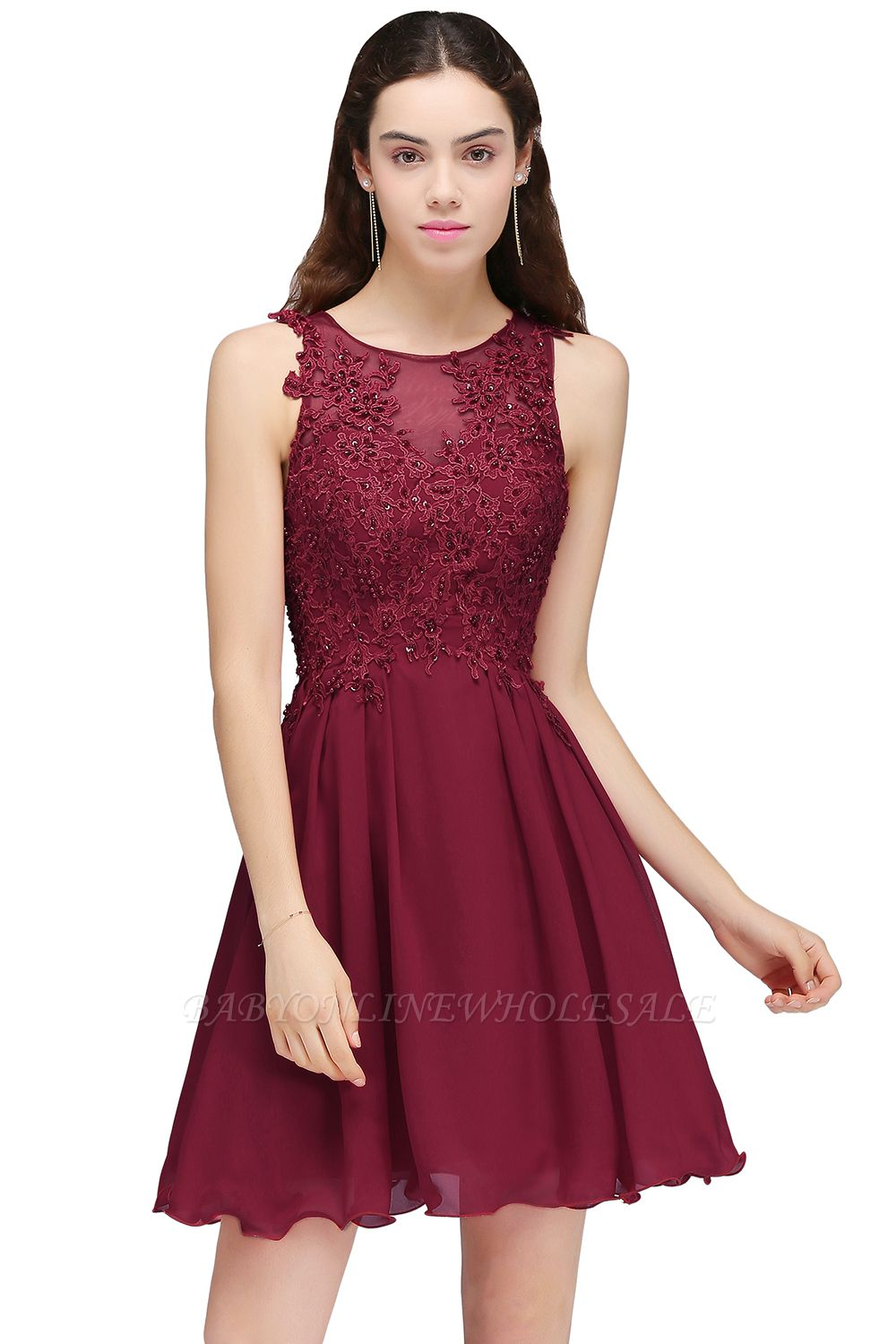 6fc4b4b8b453 CARLEE | A-line Jewel Short Chiffon Burgundy Homecoming Dresses with Lace  Appliques | www.babyonlinewholesale.com