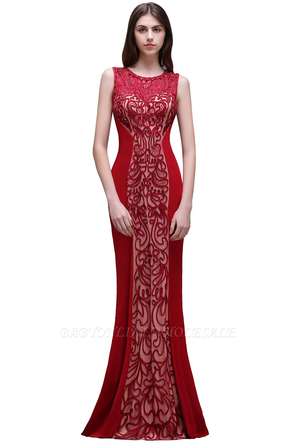 BEATRICE | Sheath Round Neck Floor-Length Burgundy Prom Dressses With Applique