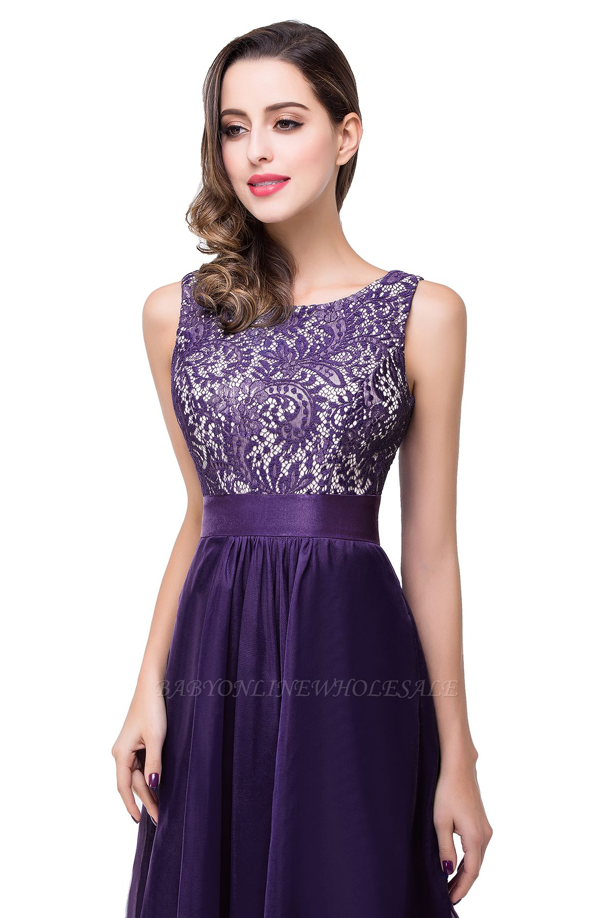 ADDISON   A-line Floor-length Chiffon Evening Dress with Lace