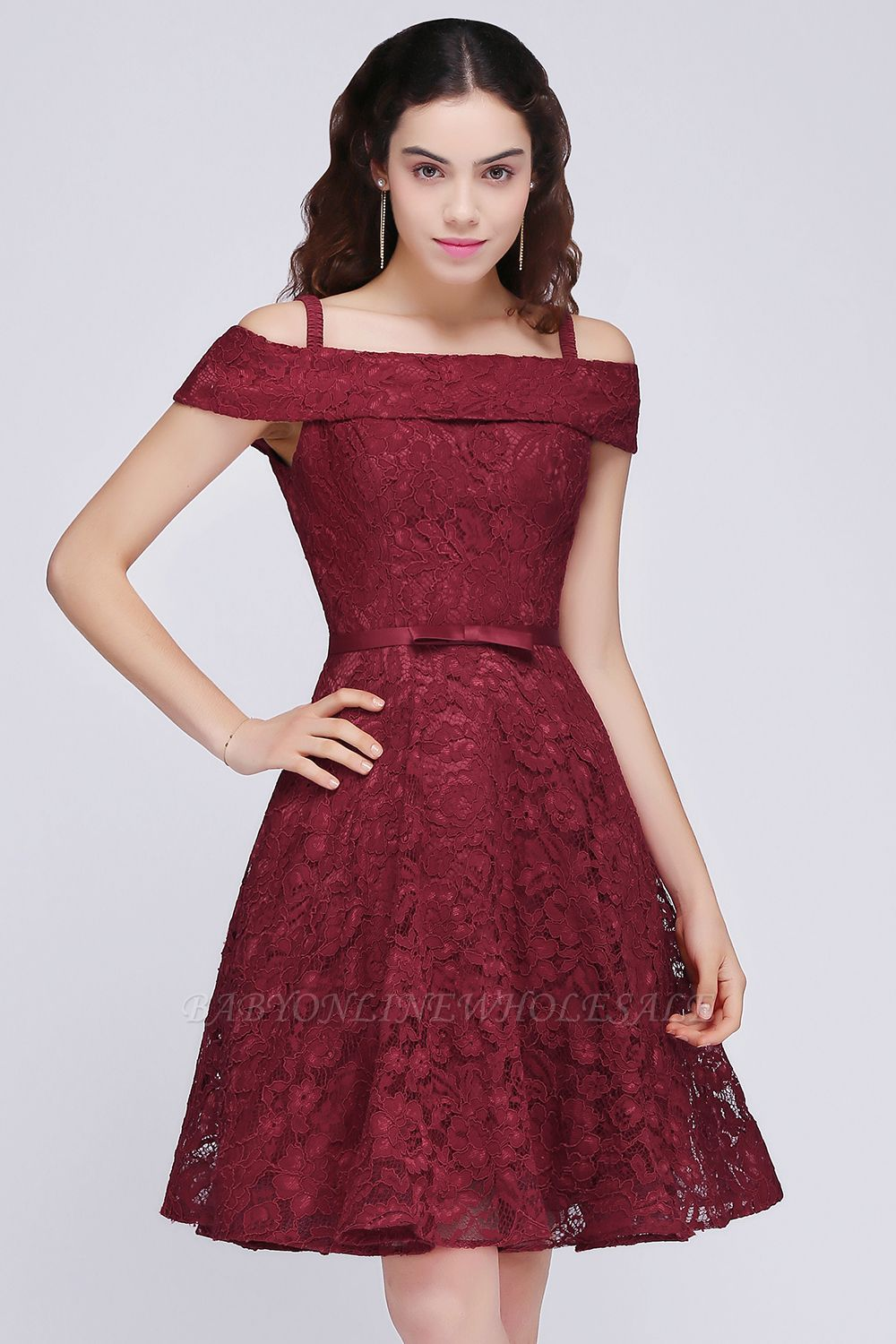 BRISTOL | A-Line Spaghetti Straps Short Lace Burgundy Homecoming Dresses