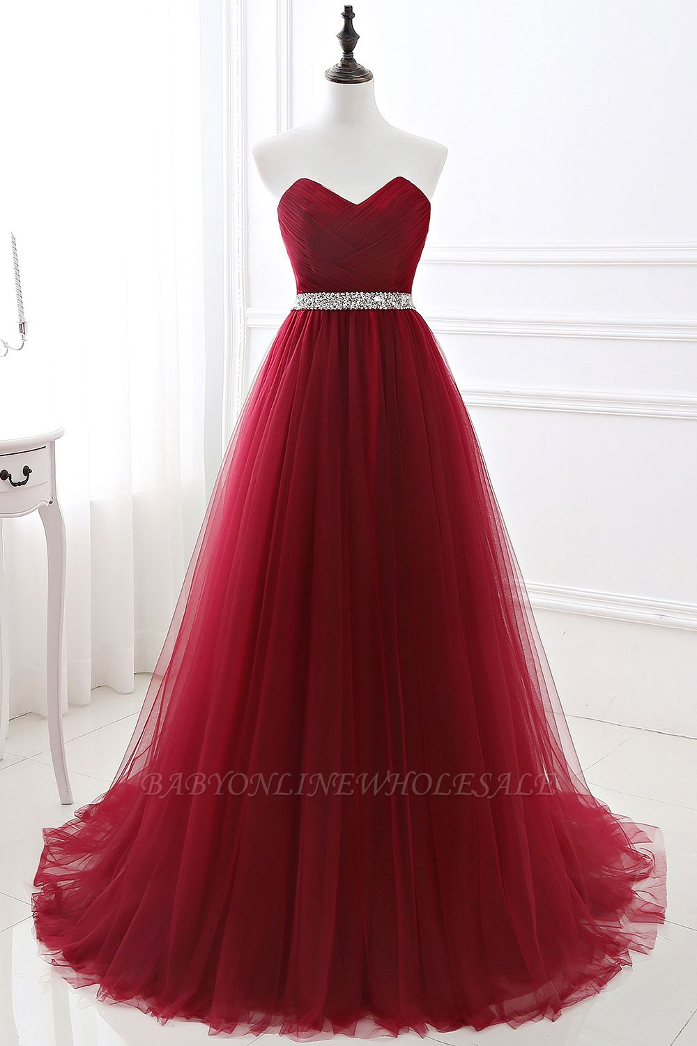 ANGELINA | A-line Sweetheart Burgundy Tulle Prom Dress With Beading