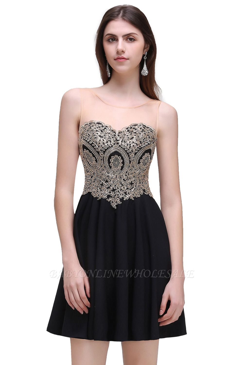 CAITLIN | A-line Short Chiffon Black Homecoming Dresses with Appliques