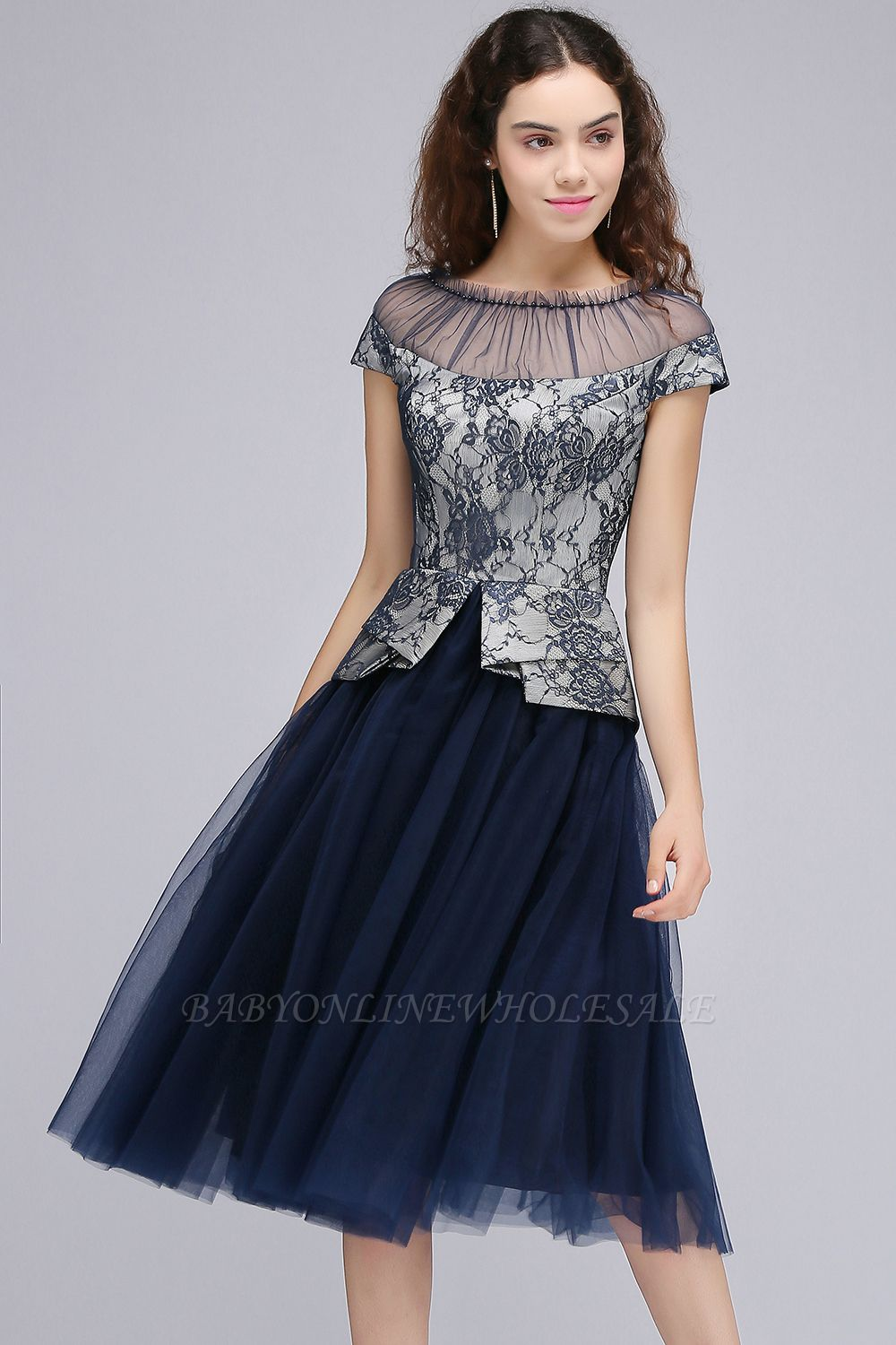 BRIDGET | A-Line Round Neck Knee-Length Tulle Lace Dark Navy Homecoming Dresses