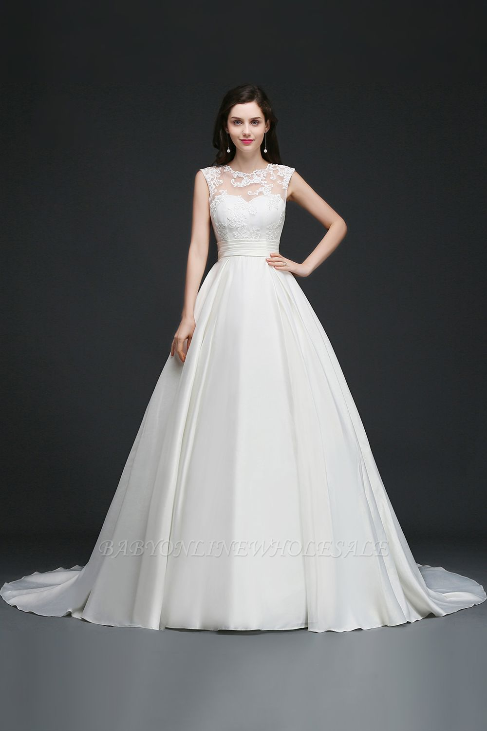ELIZABETH | A-line Sleeveless Floor-length Chiffon Lace Wedding Dresses
