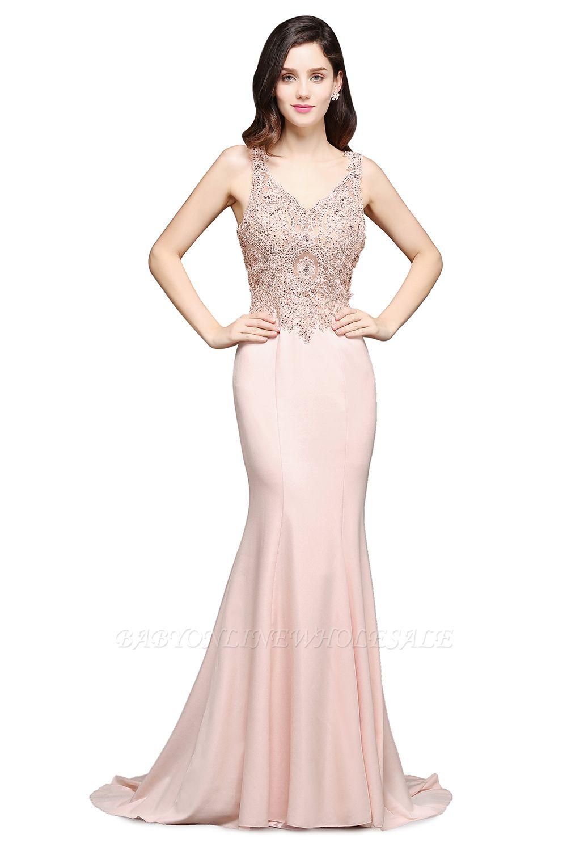 ALLYSON   Sirène v-cou perle rose robes de bal avec des perles