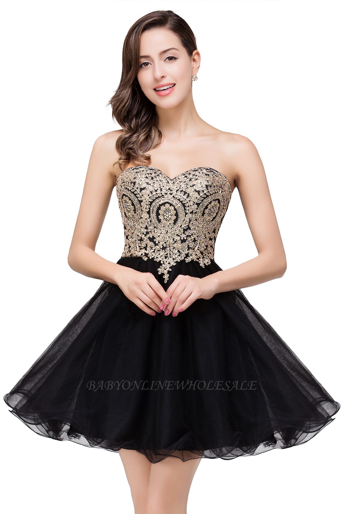 Gabriela   A Line Lace Appliques Sweetheart Short Prom Dresses
