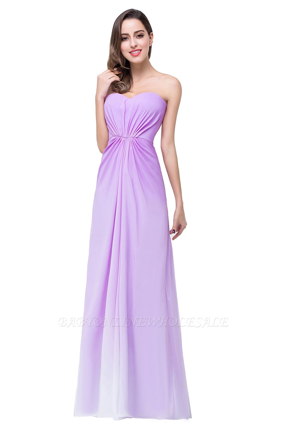 ADRIENNE | A-line Strapless Chiffon Bridesmaid Dress