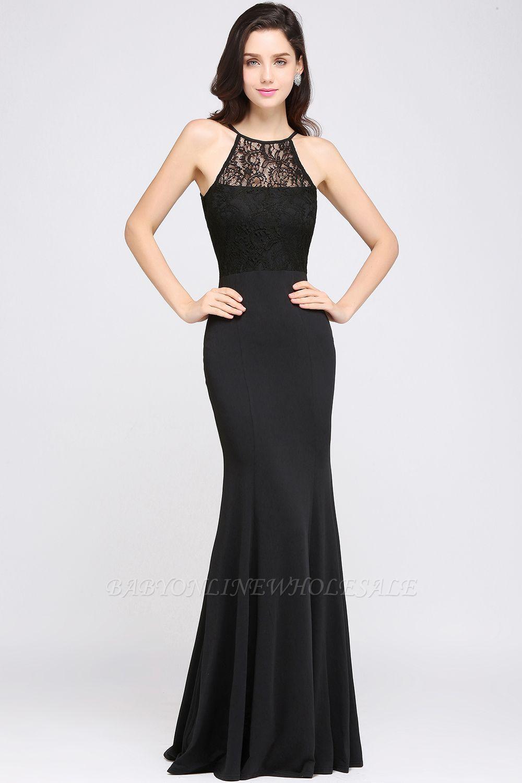 CHERISH   Mermaid Halter Floor-length Chiffon Black Prom Dress