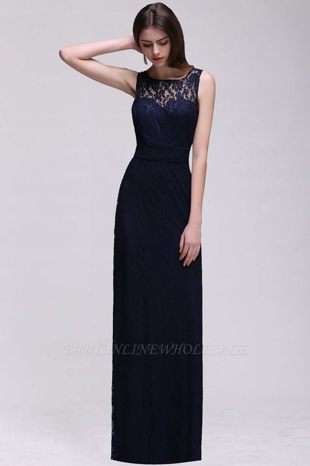 CHARLEY | Sheath Illusion Floor length Elegant Navy Blue Prom Dress