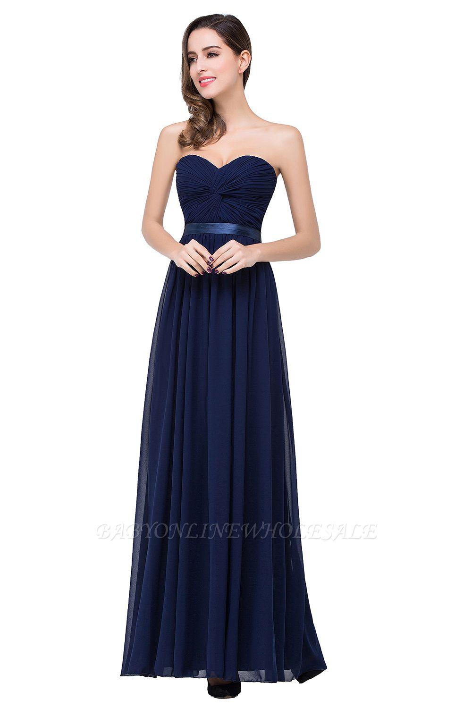Elegantes A-Linie Chiffon Brautjungfer Kleid | Schulterfrei Brautjungfernkleider Bodenlang