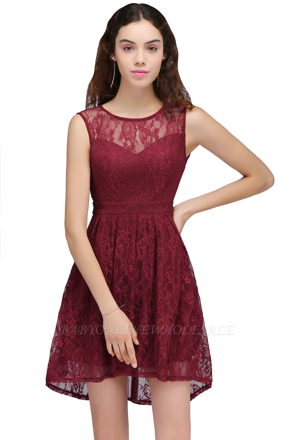 BRIELLE | A-Line Round Neck Short Lace Burgundy Homecoming Dresses