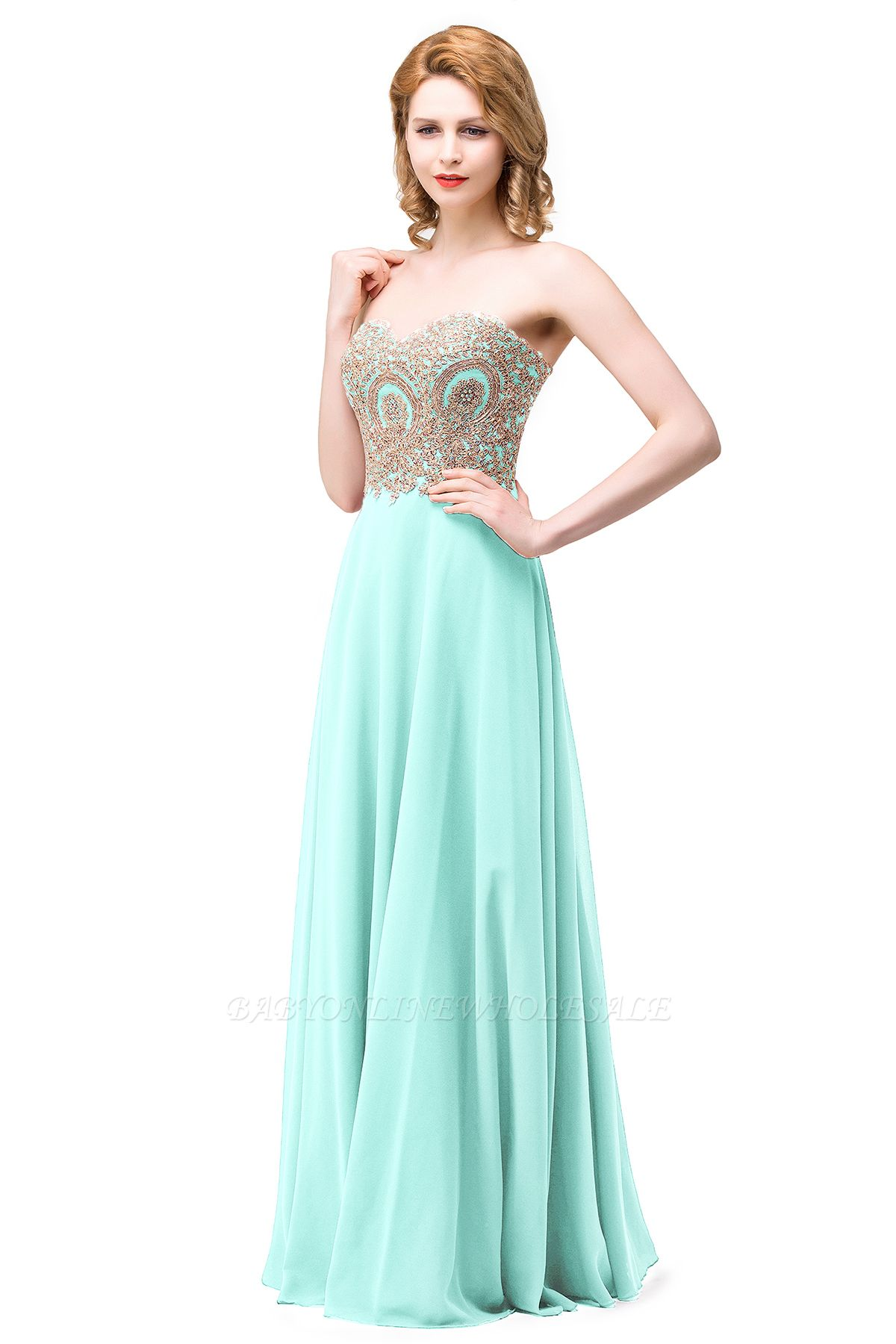 ERICA | A-Line Sweetheart Floor-Length Prom Dresses with Embroidery Beads