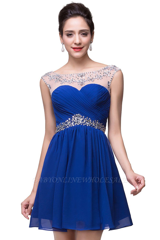 AITANA   A-ligne bijou en mousseline de soie robe de soirée avec cristal