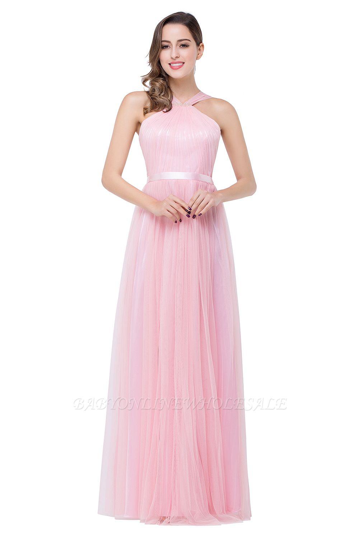 JULIETTE | Sheath Floor-length Pink Tulle Bridesmaid Dresses with Ribbon Sash