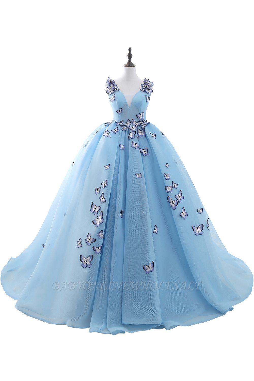 BREANNA | Princesse col V chapelle train mousseline de soie bleu ciel robes de bal avec appliques papillon