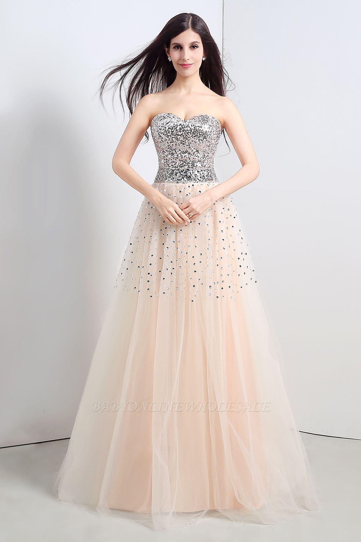 CECELIA   A-ligne bretelles robe de soirée en tulle avec paillettes