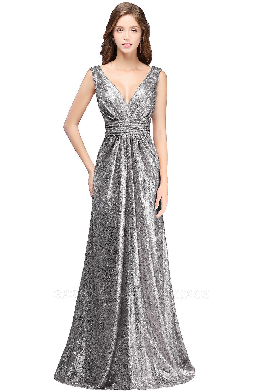 Elegante A-Linie Open Back Pailletten Sleeveless V-Ausschnitt Abendkleider