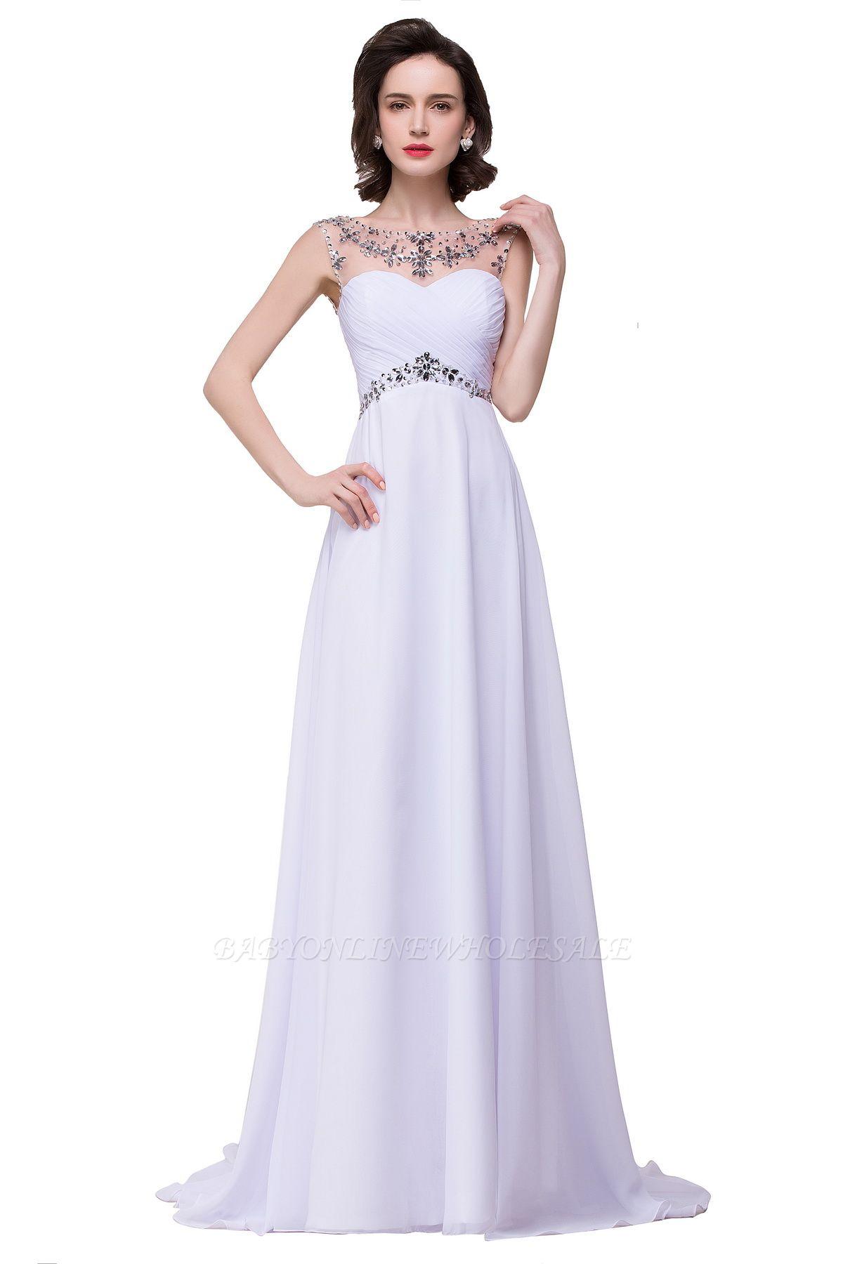 AINSLEY | A-ligne chérie robe de soirée en mousseline de soie avec cristal
