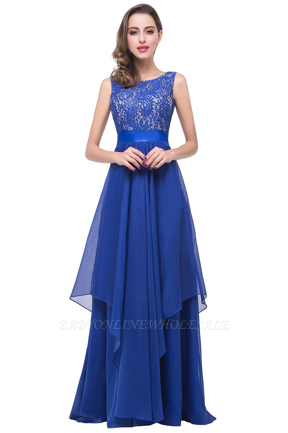 ADDISON | A-line Floor-length Chiffon Evening Dress with Lace