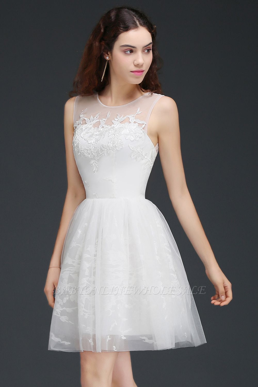 ALEXANDRIA | A Line Sheer Whit Short Tulle Cocktail Dresses With Lace