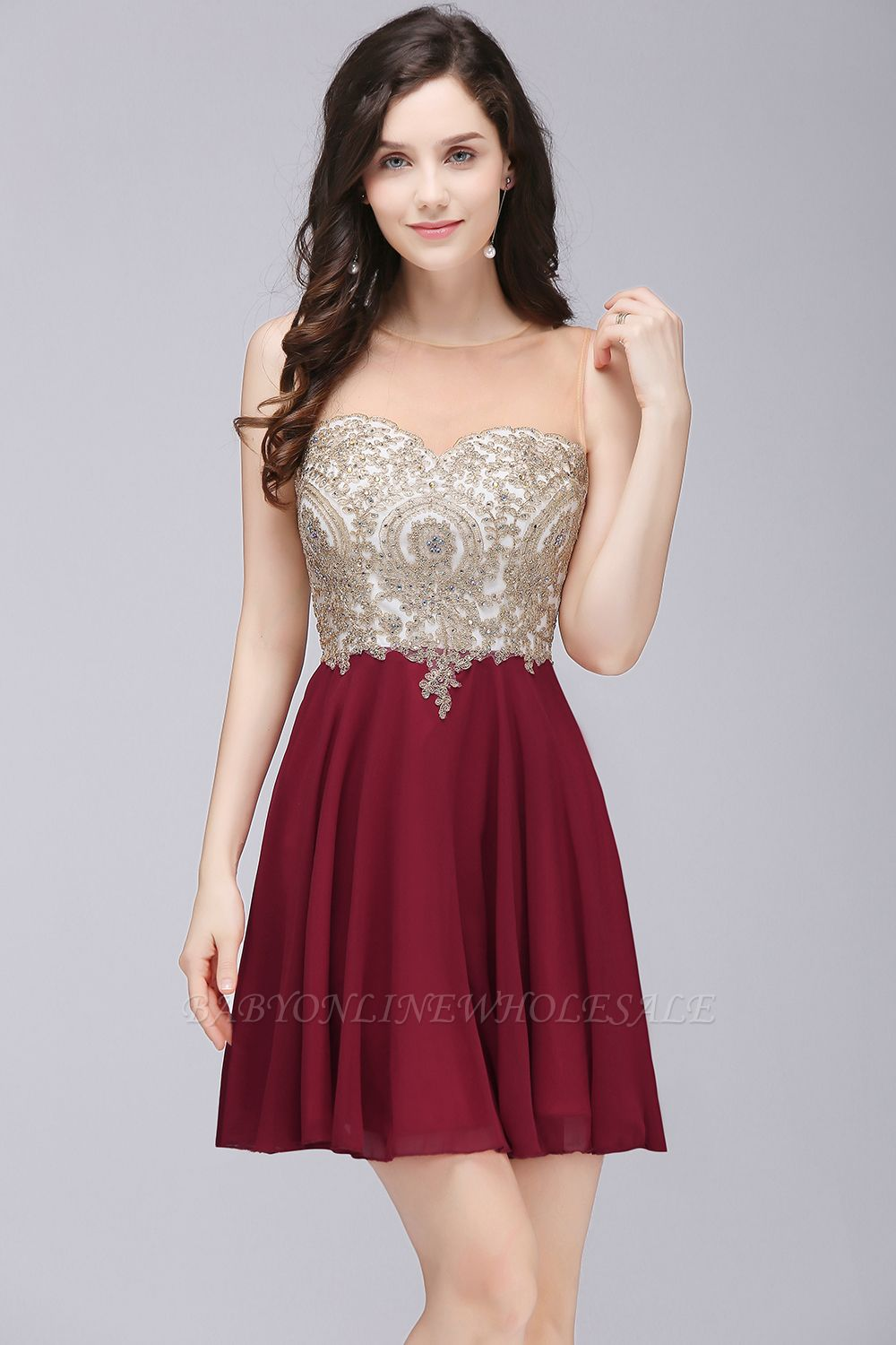 ALIANNA | Sheath Jewel Chiffon Short Homecoming Party Dresses With Applique