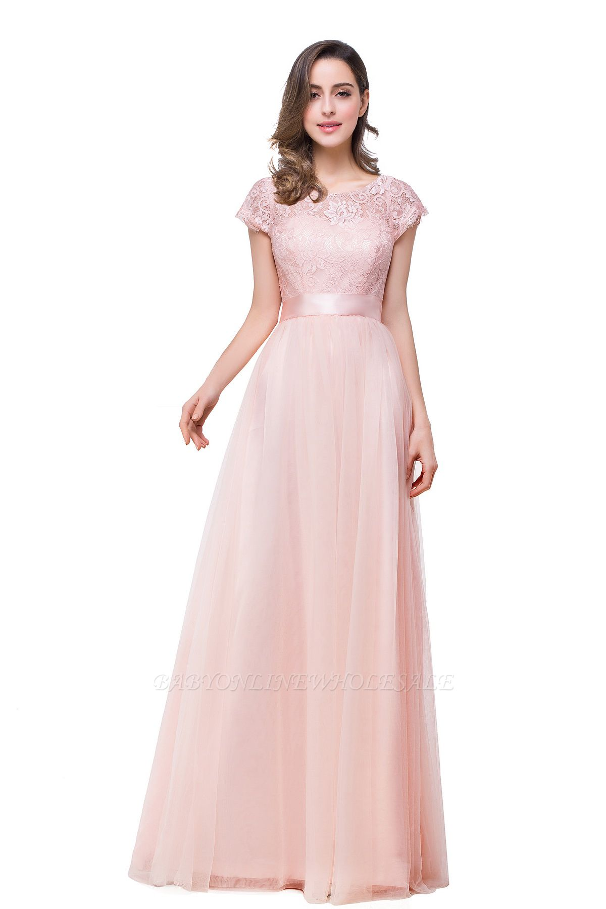 ELLIANA | A-line Short Sleeve Chiffon Bridesmaid Dresses with Ribbon Bow Sash