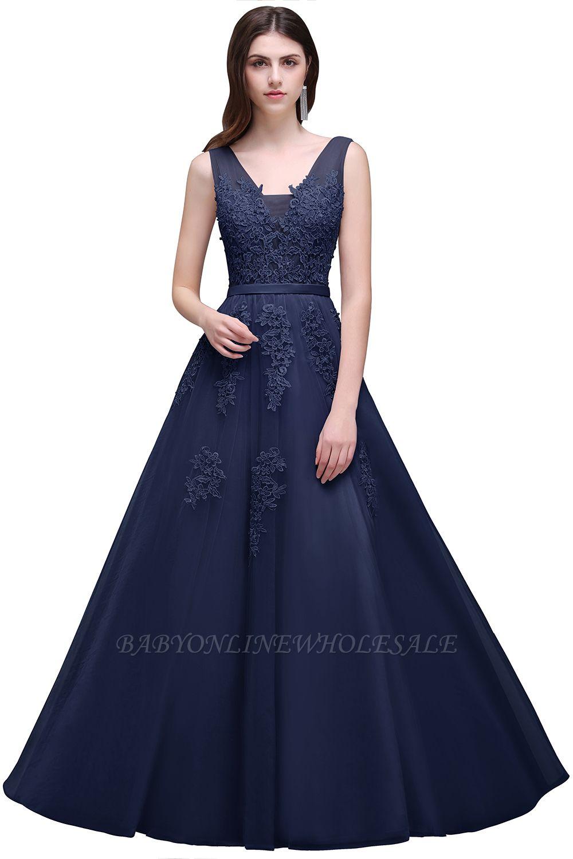 V-Ausschnitt A-Linie Bodenlanges Tüll Brautjungfernkleid   Brautjungfer Kleid Mit Applikationen