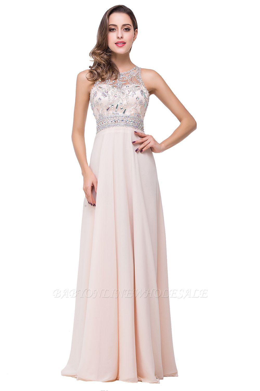 ADALYN | A-line Jewel Chiffon Prom Dress with Beading Crystal
