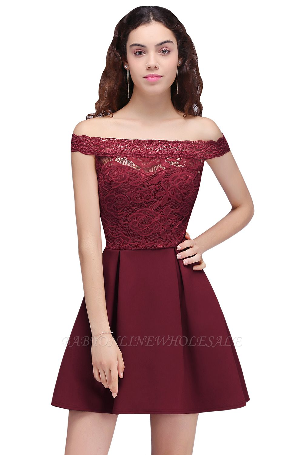 BROOKLYN | A-Line Off-the-shoulder Short Lace Burgundy Homecoming Dresses