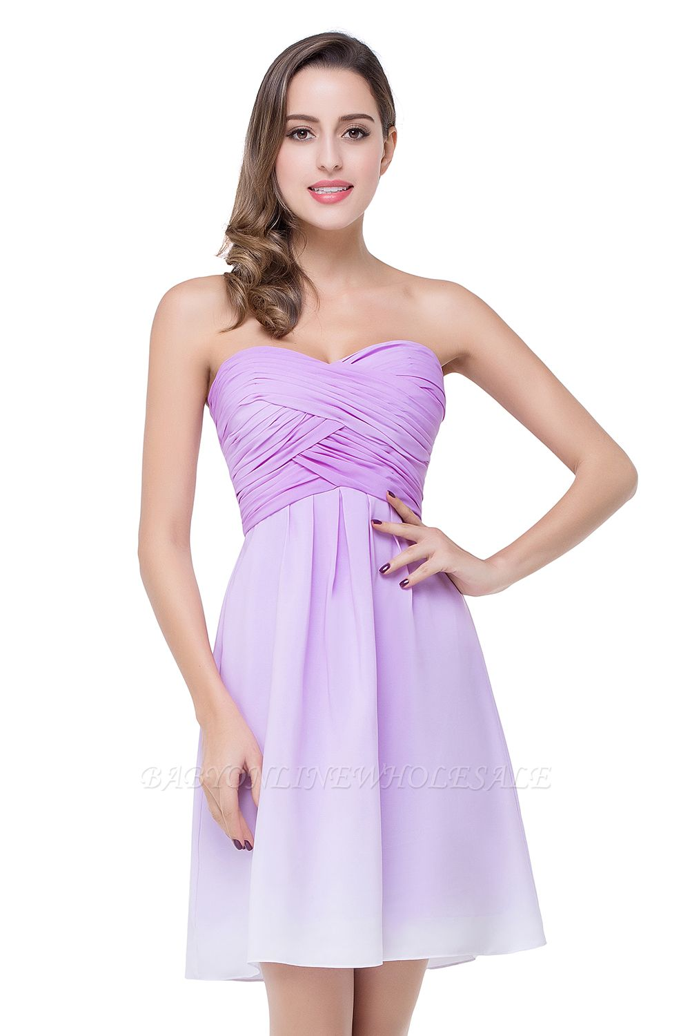ADLEY | A-line Strapless Chiffon Bridesmaid Dress with Draped