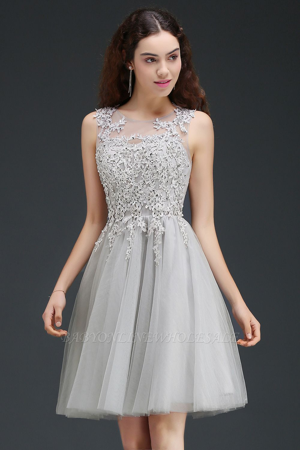 ANNA | A-line Short Modern Homecoming Dress With Lace Appliques