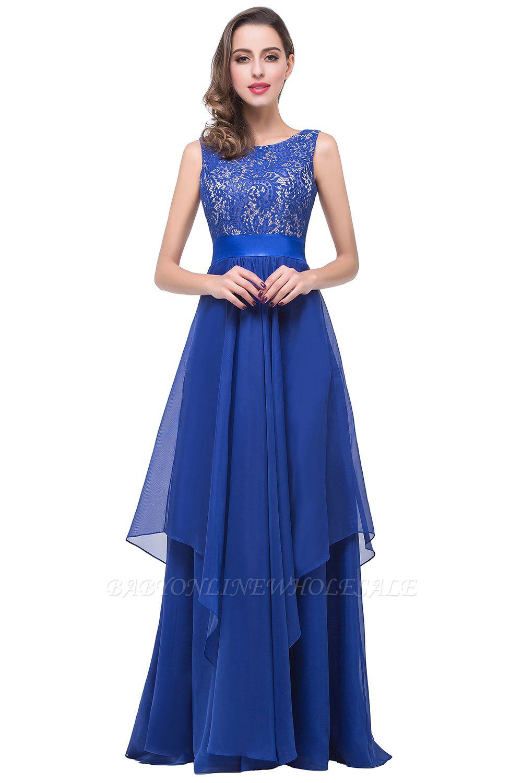 ADDISON | A-line длиной до пола, шифон вечернее платье с кружевом