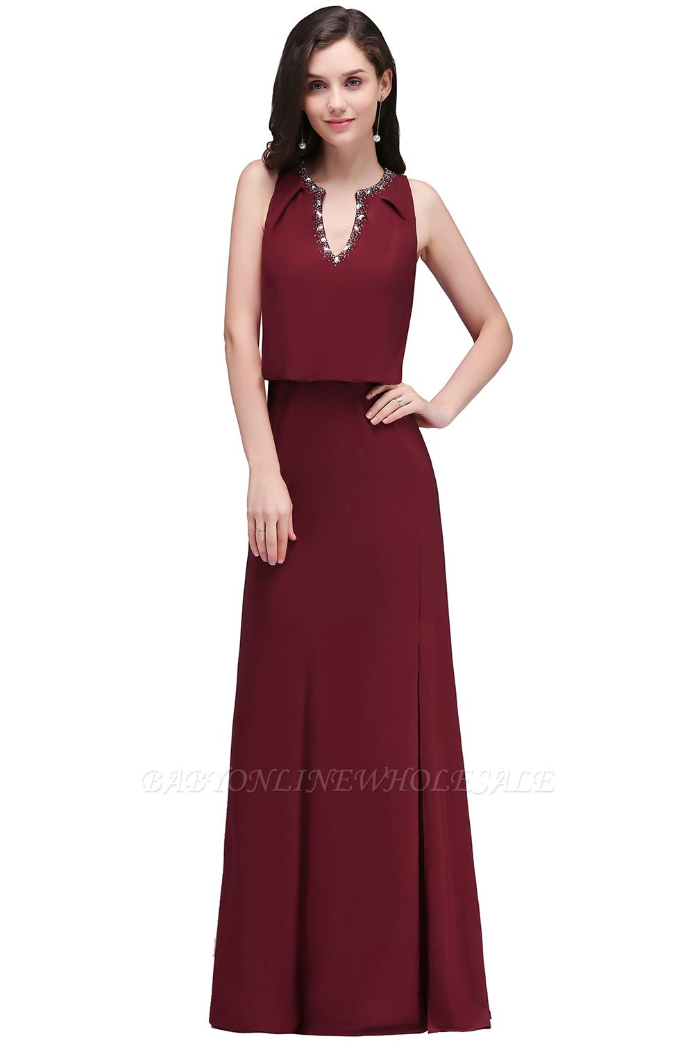 EDITH | A-line V-neck Floor-length Sleeveless Burgundy Prom Dresses with Crystal