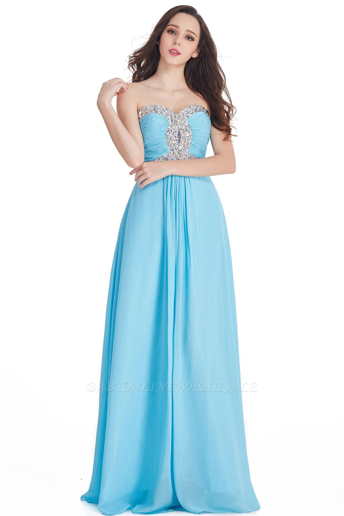 CRYSTAL | Sheath Floor-Length Sweetheart Chiffon Prom Dresses with Crystals
