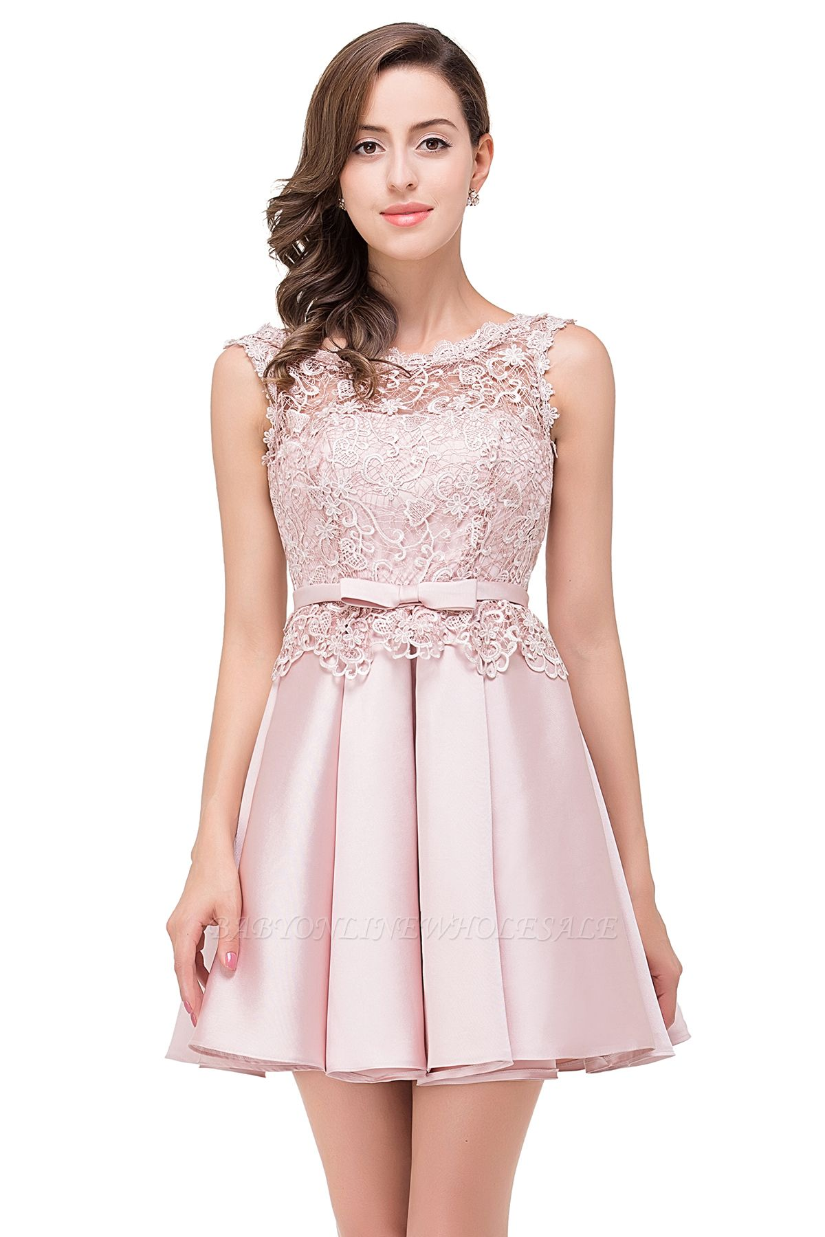 ADELAIDE | A-line Knee-length Satin Homecoming Dress with Lace