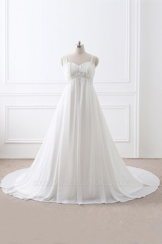 ALIVIA | Elegante A-Linie Chiffon Brautkleider Tr?ger Applikationen Lace-Up Brautkleider