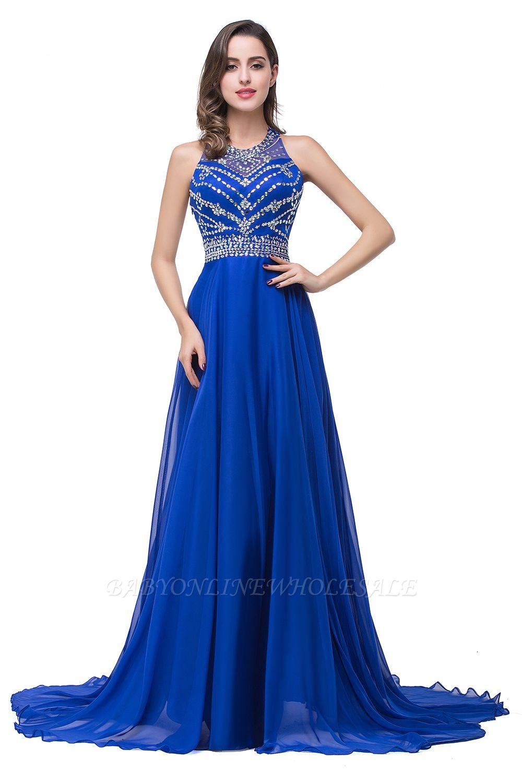 ELLA | A linha de vestidos de baile até o chão sem mangas Tulle Prom com contas de cristal