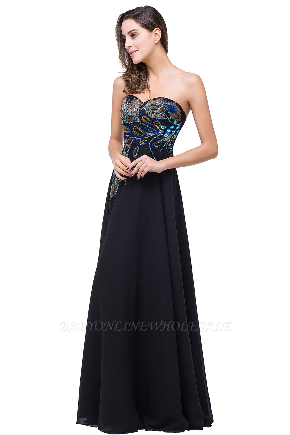 ADALYNN | A-line Sweetheart Black Evening Dress with Embroidery
