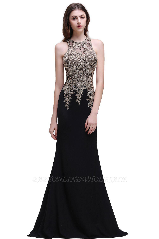 BROOKLYNN | Meerjungfrau Schwarz Prom Kleider mit Spitze Appliques