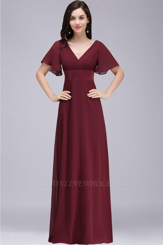 COLETTE | A-Linie bodenlanges Chiffon Burgund Prom Kleid mit weichen Falten