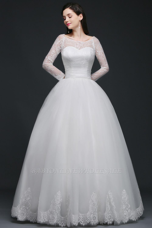 AZARIA | فستان زفاف الأميرة سكوب تول الأبيض مع الدانتيل