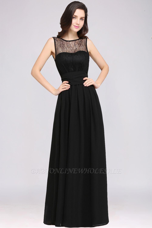 CHARLOTTE | una línea de piso de longitud gasa sexy vestido de fiesta negro
