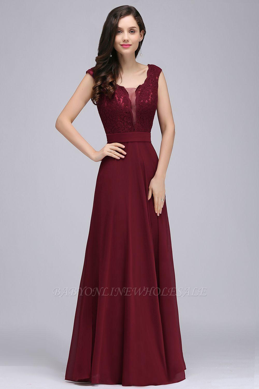 CORINNE | A-line Floor-length Lace Burgundy Elegant Prom Dress